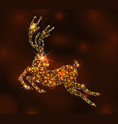 christmas light deer for happy new year running vector image