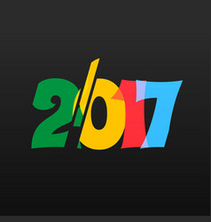 Colorful 2017 text on black background vector