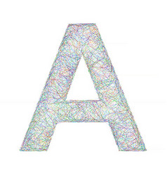 Colorful sketch font design - letter A vector