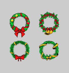 Comical drawing christmas wreath vector
