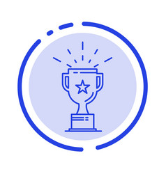 cup medal prize trophy blue dotted line line icon vector image