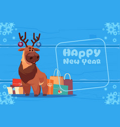 cute deer on happy new year greeting card vector image