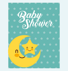 Cute moon and star dots background baby shower vector