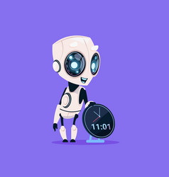 Cute robot hold clock reminder isolated icon on vector