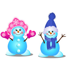 cute snowman and snowgirl smiles isolated on a vector image