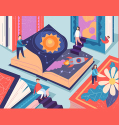 cute tiny people reading different books giant vector image