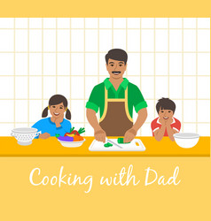 Dad with kids cooking dinner together in kitchen vector