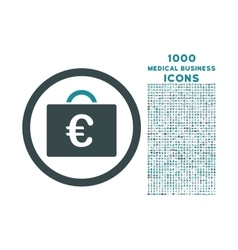 Euro Bookkeeping Case Rounded Icon with 1000 Bonus vector image