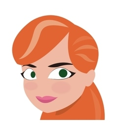 Face of red hair woman icon vector