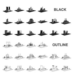 Factory and plant black icons in set collection vector