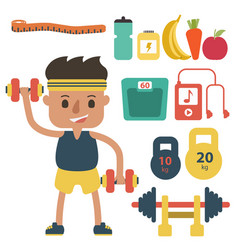 flat fitness sportsman gym exercise equipment vector image