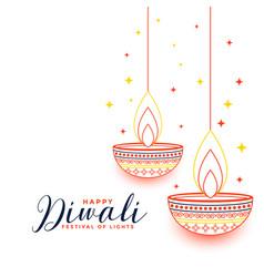 Flat line style happy diwali decorative card vector