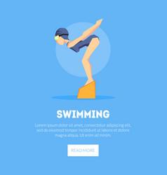 Girl swimmer at starting point banner template vector
