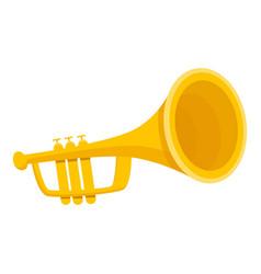 Gold trumpet icon cartoon style vector