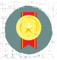 golden medal with star in vector image