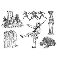 Greek culture set national symbols ruins vector