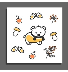 Greeting card with bear scarf and autumn vector image