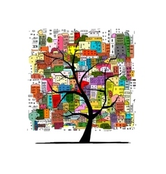Growing city tree concept Sketch for your design vector image