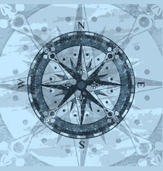 grunge blue background with compass rose vector image