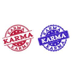 Grunge scratched karma stamp seals vector