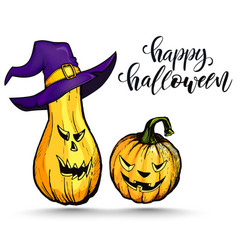 halloween pumpkins with evil scary smile vector image