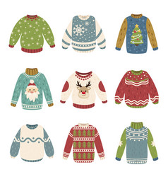 handmade christmas sweaters color vector image
