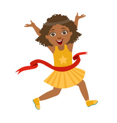 Happy girl run to the finish line first in yellow vector