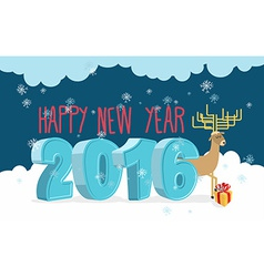 Happy new year 2016 Deer and gift Christmas vector image