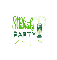 happy patricks day icon hand drawn lettering vector image