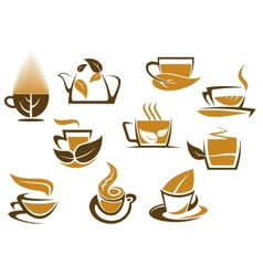 Herbal tea symbols and emblems vector