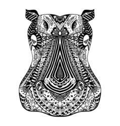 Hippo zentangle stylized vector