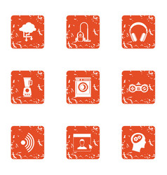 Home lifestyle icons set grunge style vector
