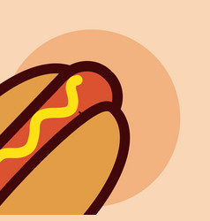 hot dog fast food cartoon close up vector image