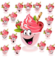 Ice cream with wafer raspberry and mint in cup vector