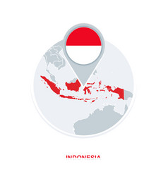 Indonesia map and flag map icon with highlighted vector