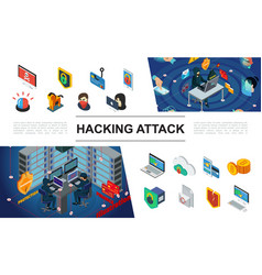Isometric hacking elements collection vector