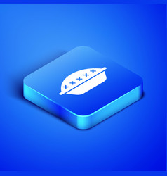 Isometric homemade pie icon isolated on blue vector