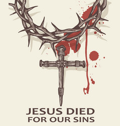 Jesus nails with thorn crown vector
