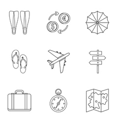 Journey to sea icons set outline style vector image vector image