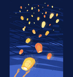 Letting out hinese lanterns in night sky vector