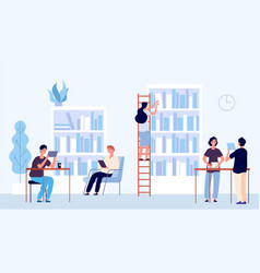 library concept students coworking space vector image
