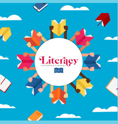 literacy day concept for children education vector image