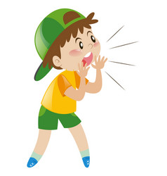 Little boy with green hat shouting vector