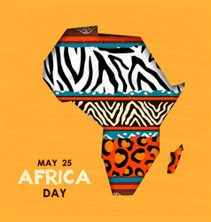 May 25 africa day card wild animal african map vector