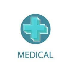 Medical logo abstract blue cross medicine design vector