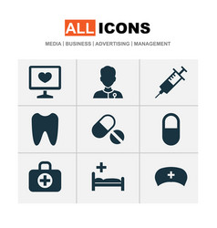 medicine icons set with syringe nurse hat pill vector image
