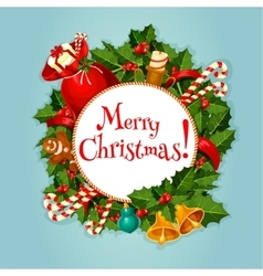 Merry Christmas greeting card or poster design vector image