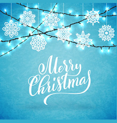 merry christmas party poster with hand-drawn vector image