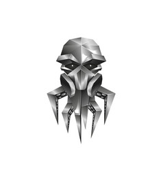 metallic octopus in a gas mask icon vector image