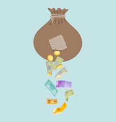 Money holey bag thief stolen cash gold coin and vector